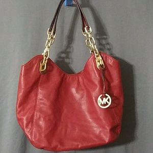 MK RED LEATHER PURSE